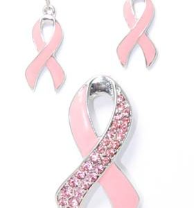 breast cancer ribbon earing set