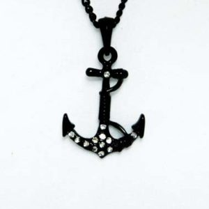 black anchor necklace