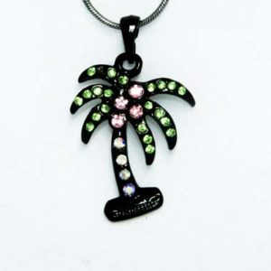 black palm tree necklace