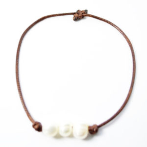 triple pearl brown bracelet